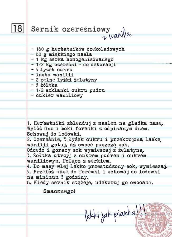 Przepis na sernik czereśniowy z wanilią