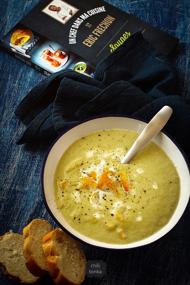 Zupa porowa z wędzonym tupaczem