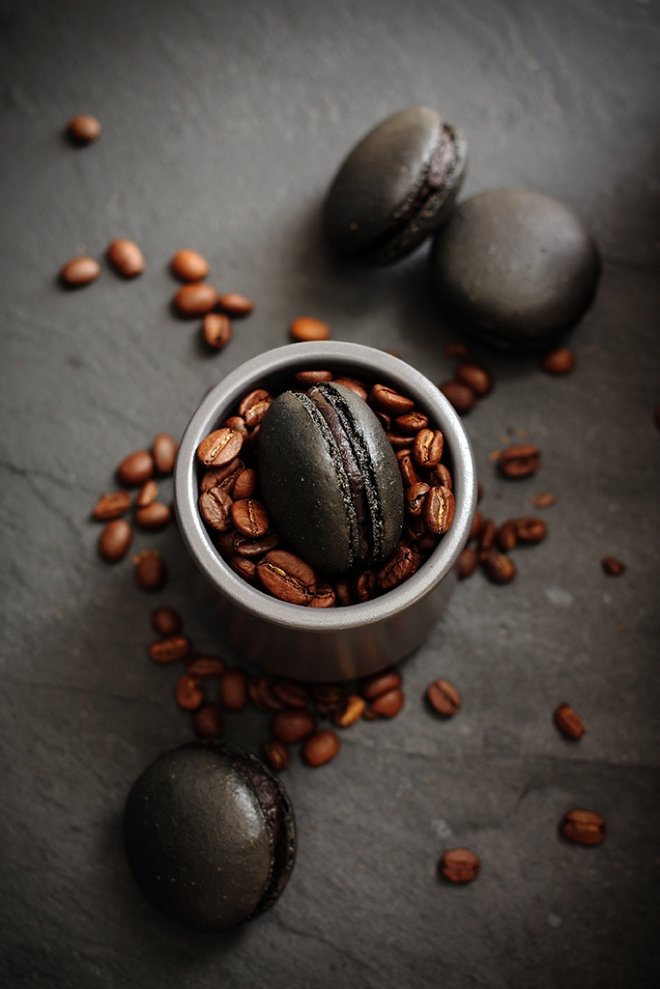 Black coffee macarons