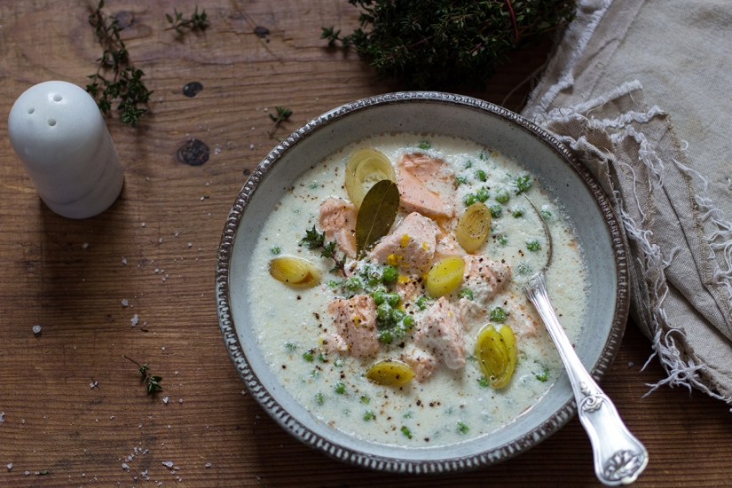 Kokosowa zupa złososiem
